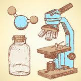 Sketch chemical set  in vintage style