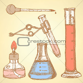 Sketch chemical set  in vintage style