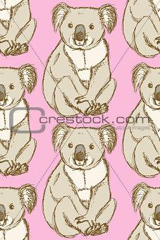 Sketch cute koala in vintage style