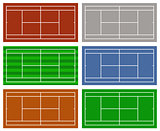 Illustration of different tennis courts