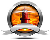 Metallic Icon with Red Lighthouse