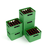 Crates with lager beer