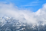 Mountains in snow and fog