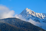 mountain peak over blue sky
