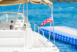 small sea yacht closeup with American flag