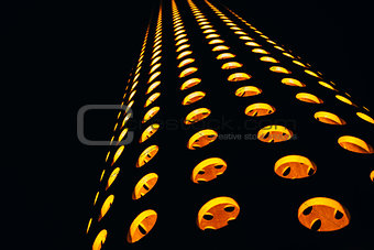 Abstract composition with orange circles on a black background