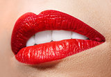 Sensual open mouth  with red lipstick.