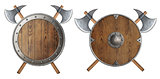 round wooden knight shield and two crossed battle-axes set