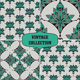 Vector Collection of 4 Vintage  Seamless Floral Pattern