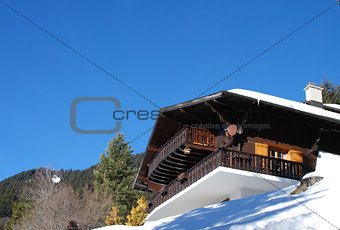 chalet in winter in the swiss Alps
