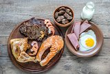 Protein diet:cooked products on the wooden background