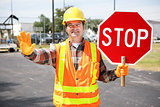 Construction Worker with Stop Sign