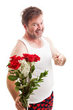 Husband with Valentines Flowers