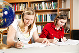 Teen Girls Studying in School