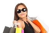 Asian Female Shopper Portrait Close Up At Camera