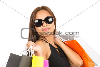 Asian Female Shopper Portrait Close Up At Camera