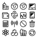 Web menu internet line, stroke icons set - tech, application