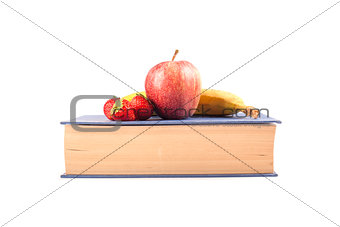 Back to school fruit on a book