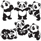 black white set with cartoon panda