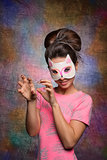 pretty girl with cat mask
