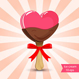 Vector. Pink ice cream with chocolate glaze. Valentine day.