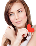 Female with red paper heart