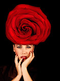 Female with red rose hat