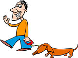man with dachshund cartoon