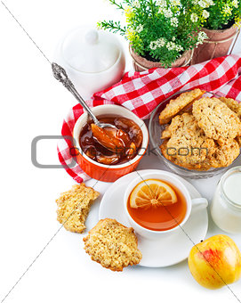 Breakfast with tea and fresh cookies
