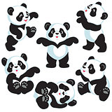 set with cartoon panda