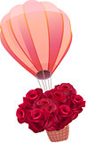 Balloon full of fresh red roses