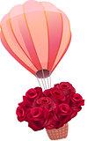 Balloon full of fresh red roses