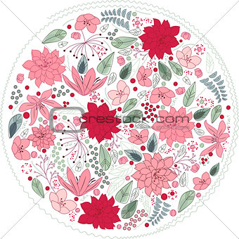 Floral circle made of different flowers