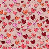 Seamless pattern with funny hearts