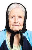 Portrait of senior woman on white background