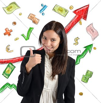 Finance growth businesswoman