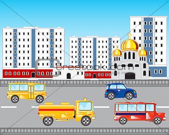 Car road in city