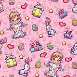 Vector seamless pattern of cartoon Easter elements
