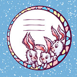 Vector banner with cute cartoon rabbits