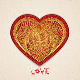Vector illustration of heart embroidered on cardboard