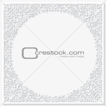 Abstract paper floral frame. Vector illustration