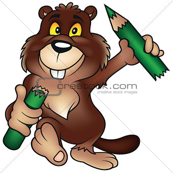 Beaver Holding Pencil
