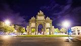 Gate of Toledo (Puerta de Toledo) on a spring night in Madrid