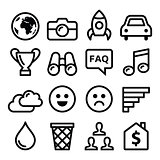 Internet, application, tchnology stroke line icons set