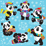 cartoon panda in winter