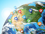 Travel destination concept. Pin on earth. Navigation in USA.