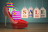 Shopping bags in women high heel shoes and labels sale. Concept