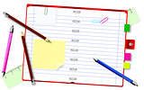 Notepad with pencils and pens