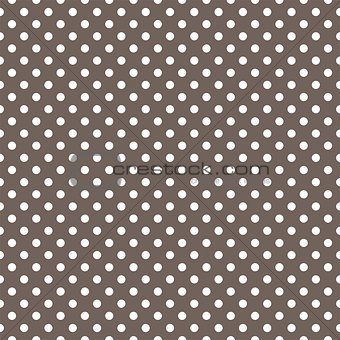 Tile vector pattern with white polka dots on brown background