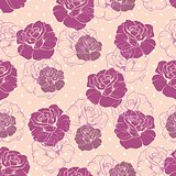 Tile floral pattern with roses and polka dots